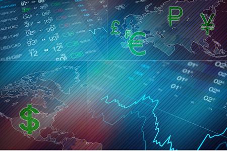 Zakelijke collage achtergrond. Abstracte financiëncollage met wereldkaart, forex gegevens en grafiek, euro van het muntteken, dollar, yena, pond, openhartig, roebel. Valutakoers op de valutamarkt Forex. Stockfoto - 59878809