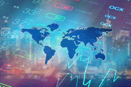 World global economy concept. Global economy, finance, investment, business background. Abstract collage: financial market chart, trading data at world map background. World economy, financial market