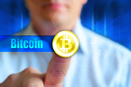 Buy Bitcoin, investment in the cryptocurrency Bitcoin concept Stockfoto