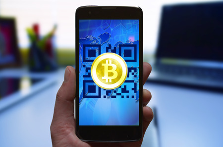 Bitcoin cryptocurrency mobile wallet, abstract