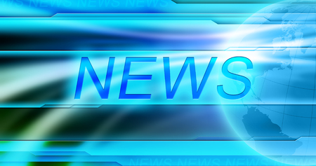 News background wallpaper. Blue shiny background, Globe, large title News at the center. Banner for global news.