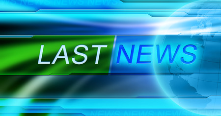 Last news tag at blue background Stockfoto
