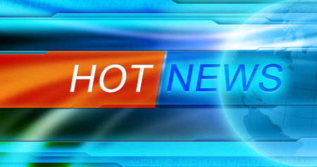 Hot news tag at blue background Stockfoto