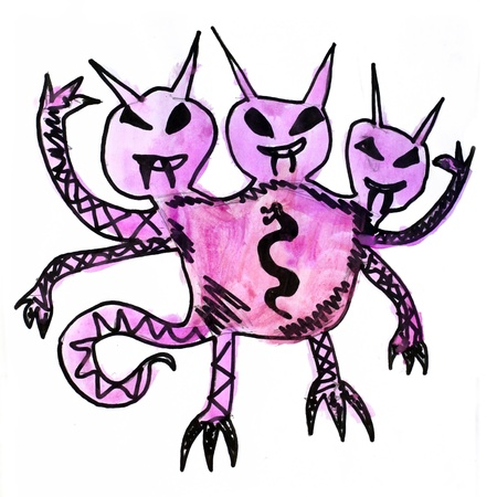 monster three watercolor heads evil hero photo