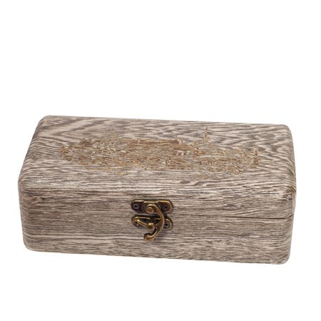 antique gray wooden  brown caskets box isolated on white backgro photo