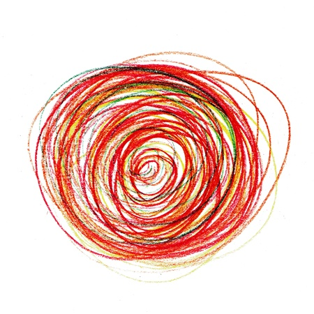 abstract red painting colored circles texture pencil line photo
