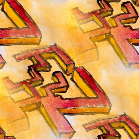 watercolor seamless yellow red cubism background photo