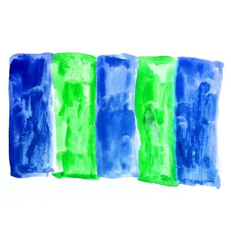 textur: blue green square watercolor background watercolour brush textur Stock Photo