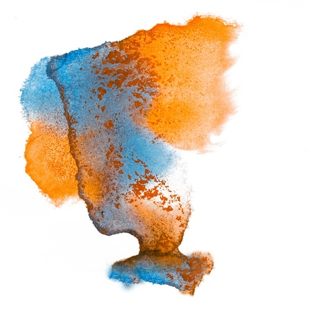 blue orange spot blot  watercolors isolated