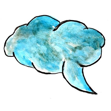 str: blue speech bubbles watercolor paint brush watercolour color str