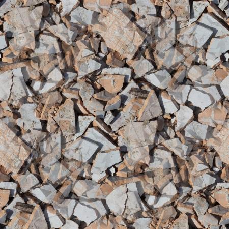 splintered: garbage broken tiles seamless background texture Stock Photo