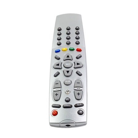 access  remote control tv monitoring support isolated on white background photo