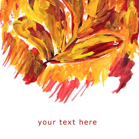 orange brushstrokes of the artist with space for your message Stock Photo - 16862412