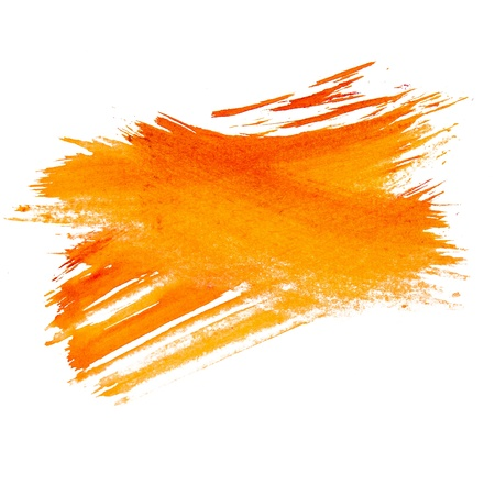 paint brush: orange watercolors spot blotch  isolated