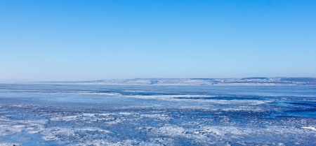 Russia River Volga winter ice landscape  photo