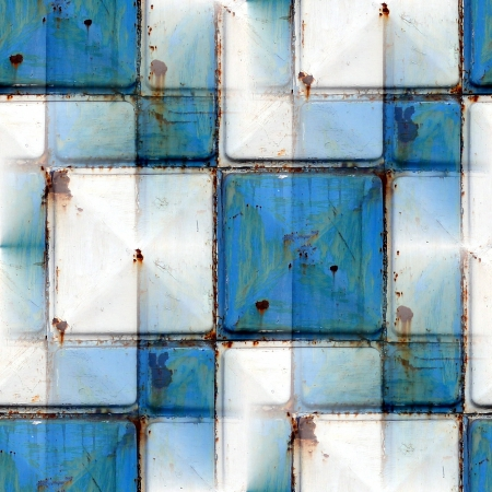 seamless background with blue iron rust square texture photo