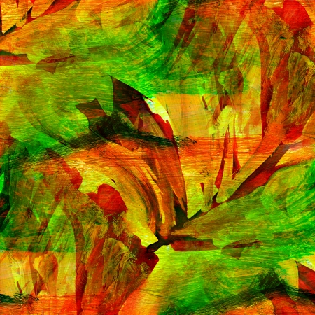seamless orange green painting watercolor with bright brushstrokes and blotches