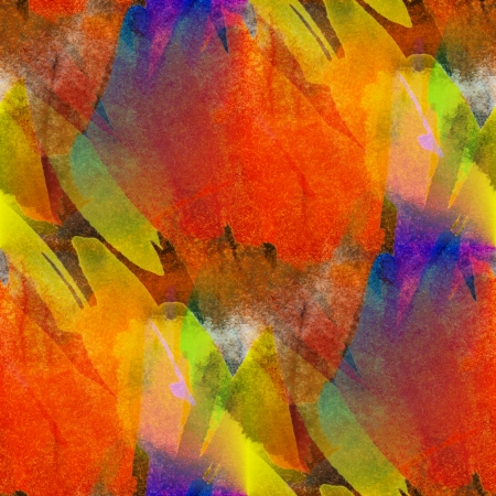 seamless painting orange red yellow watercolor blue with bright brushstrokes and blotches