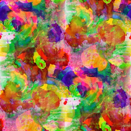 seamless painting red yellow orange green blue watercolor with bright brushstrokes and blotches photo