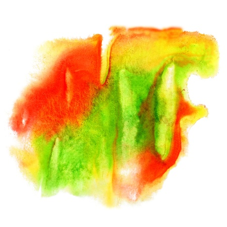 spot green yellow red watercolor blotch texture isolated on a white background Stock Photo