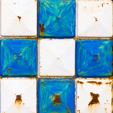 rusty texture white and blue squares photo
