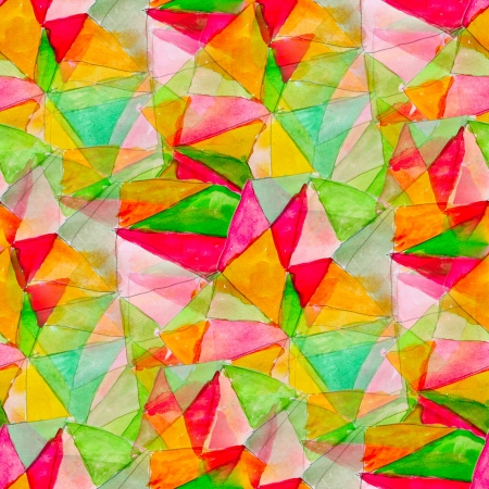 watercolor art seamless abstract texture hand painted triangle red yellow green background Stock fotó