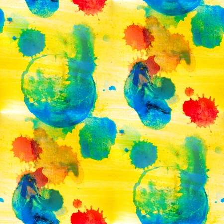 yellow blue red spot seamless blots background watercolor macro texture photo