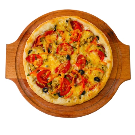Appetizing pizza on wooden trayisolated on white background (clipping path) photo