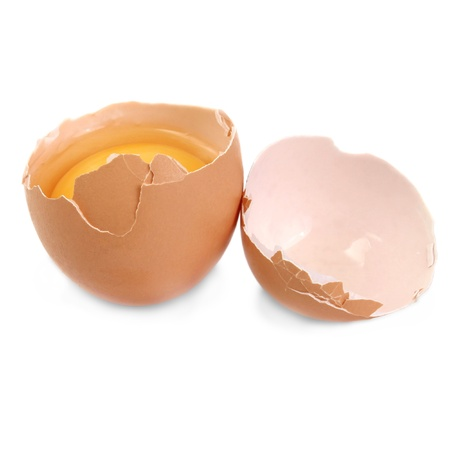 eggs smashed isolation against a white background photo