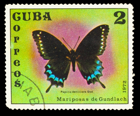 cuba butterfly: CUBA - CIRCA 1972: A stamp printed in Cuba, shows butterfly with inscription Papilio devilliers God, circa 1972. Stock Photo