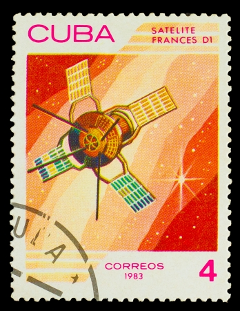 postmail: CUBA - CIRCA 1983: A stamp printed in Cuba, shows French space satellite D1, circa 1983