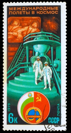 USSR - CIRCA 1979: a stamp printed by USSR, International space travel, astronauts next spaceship, circa 1979