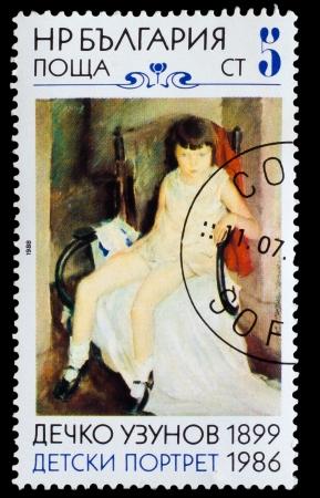 bulgaria girl: BULGARIA - CIRCA 1988: A stamp printed by BULGARIA, 1899 shows Dechko Uzunov Chilgrens portrait, circa 1988 Editorial
