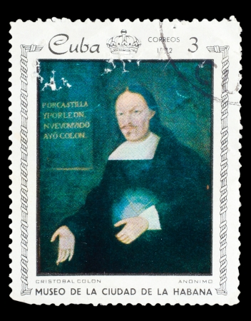 colonizer: CUBA - CIRCA 1972: A stamp printed in CUBA, shows painting of anonymous artist - Portrait of Christopher Columbus, circa 1972