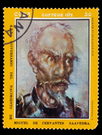 CUBA - CIRCA 1972: A post stamp printed in CUBA , showing artist fernandez, Don Quixote de la Mancha, Circa1972