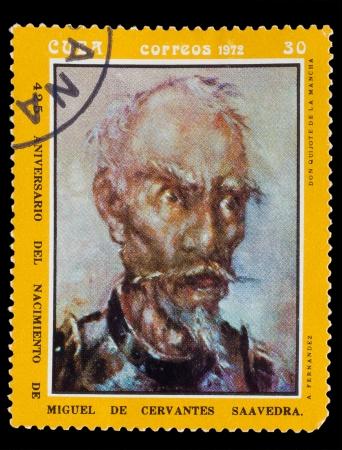 don quixote: CUBA - CIRCA 1972: A post stamp printed in CUBA , showing artist fernandez, Don Quixote de la Mancha, Circa1972