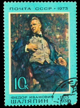 frock coat: USSR - CIRCA 1973: A stamp printed in USSR, shows operatic singer portrait Feodor Chaliapin (1873 -1938), circa 1973 Editorial