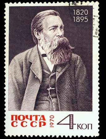 USSR - CIRCA 1970: A stamp printed in USSR, shows portrait Friedrich Engels, circa 1970 Stock Photo - 16896379
