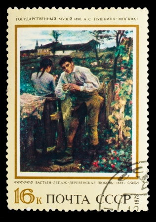 USSR - CIRCA 1973: stamp printed by USSR, shows Bastien Lepage rustic love 1882  , circa 1973