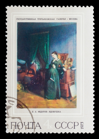 postmail: USSR - CIRCA 1973: A stamp printed in USSR, shows  painting artist Fedotov, nun-bird, widow, circa 1973