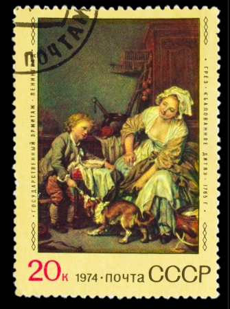 USSR - CIRCA 1974: A stamp printed by USSR, Jean Greuze, spoiled child, circa 1974