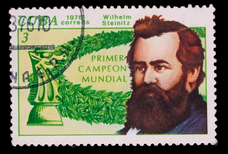 postmail: CUBA- CIRCA 1976: A stamp printed by Cuba, shows portrait Wilhelm Steinitz  knight, circa 1976