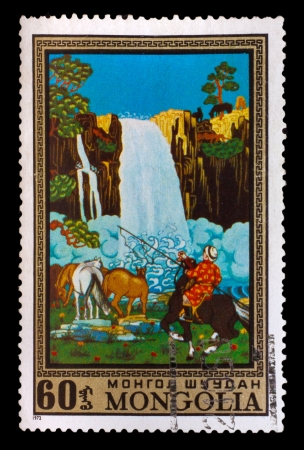 mongolia horse: MONGOLIA - CIRCA 1972: A stamp printed by MONGOLIA , rider on a horse next to a beautiful waterfall, circa 1972