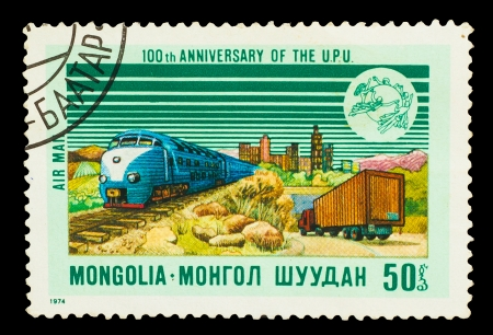 MONGOLIA - CIRCA 1974: A stamp printed in Mongolia, high-speed train, shows 100 th anniversary of the  U.P.U, circa 1974 photo