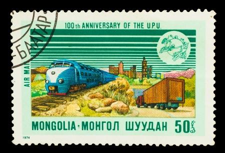highspeed: MONGOLIA - CIRCA 1974: A stamp printed in Mongolia, high-speed train, shows 100 th anniversary of the  U.P.U, circa 1974