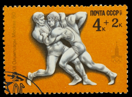 USSR - CIRCA 1980: A stamp printed in USSR, Games Moscow 1980 athletics wrestling , circa 1980 Stock Photo - 16896197