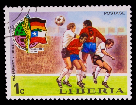 LIBERIA - CIRCA 1974: A post stamp printed LIBERIA, Germany vs Chile World Cup in Munich, Germany, circa 1974
