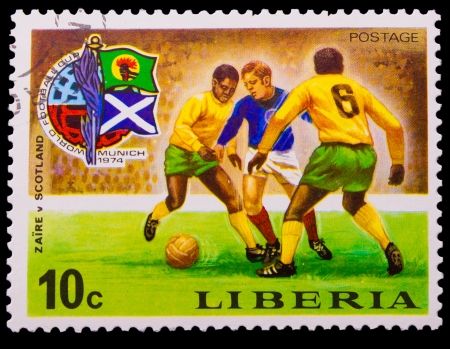 LIBERIA - CIRCA 1974: A post stamp printed LIBERIA, scotland against brazil soccer in Munich, Germany , circa 1974