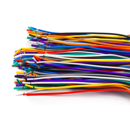 colored network wires isolated on white photo