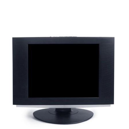 computer black screen isolated on white background photo